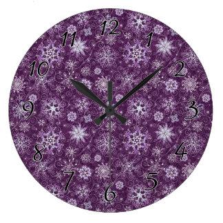Purple Snowflakes for Chronic Pain Large Clock