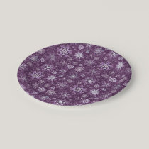 Purple Snowflakes for Chronic Pain Paper Plate