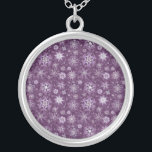 """Purple Snowflakes for Chronic Pain Silver Plated Necklace<br><div class=""""desc"""">Let these gorgeous snowflakes in shades of purple be your winter time awareness image. Perfect for Christmas.</div>"""