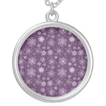 Purple Snowflakes for Chronic Pain Silver Plated Necklace