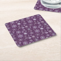 Purple Snowflakes for Chronic Pain Square Paper Coaster