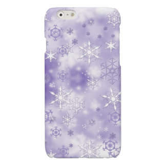 Purple Snowflakes Glossy iPhone 6 Case