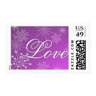 Purple Snowflakes Love Postage