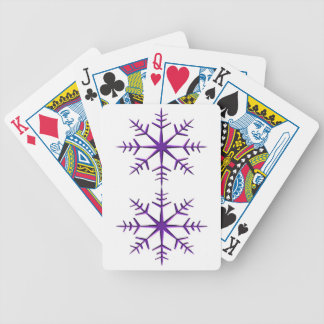 Purple Snowflakes on White Bicycle Playing Cards