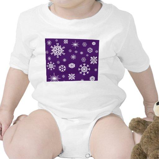 Purple snowflakes pattern romper
