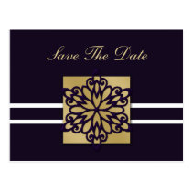 purple snowflakes save the date postcard