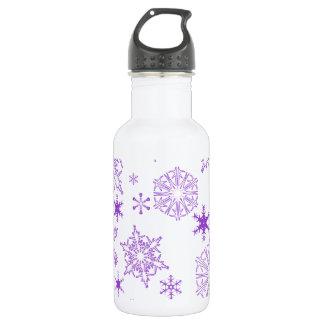 purple snowflakes stainless steel water bottle