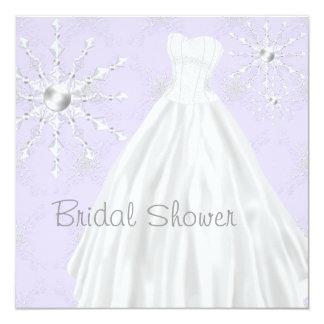 "Purple Snowflakes Wedding Dress Bridal Shower 5.25"" Square Invitation Card"