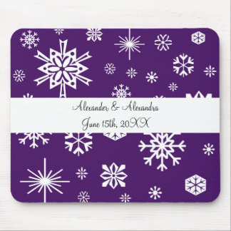Purple snowflakes wedding favors mouse pad