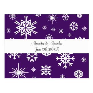Purple snowflakes wedding favors post cards