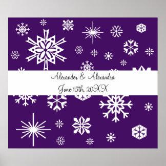 Purple snowflakes wedding favors print