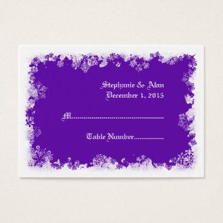 Purple Snowflakes Wedding Place Cards