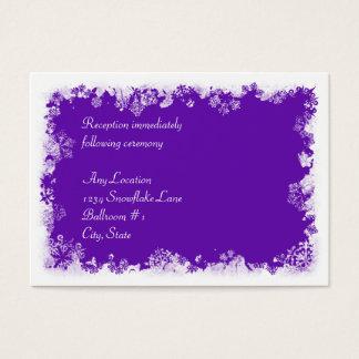 Purple Snowflakes Wedding Reception Card
