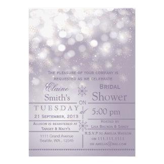 Purple snowflakes Winter Bridal shower Invite