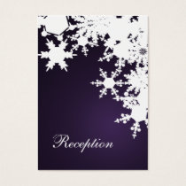 Purple snowflakes winter wedding business card