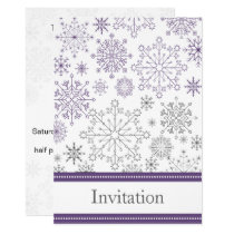 purple snowflakes winter wedding card