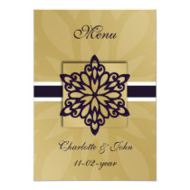 purple snowflakes winter wedding menu card