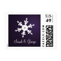 Purple snowflakes winter wedding postage