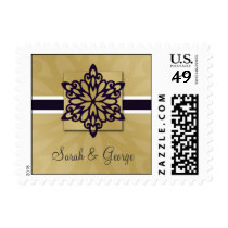 purple snowflakes winter wedding stamps