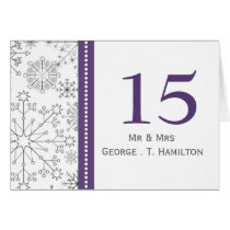 purple snowflakes winter wedding table numbers
