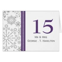 purple snowflakes winter wedding table numbers card
