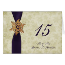 purple snowflakes winter wedding table seating card