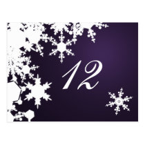 purple snowflakes winter wedding table seating postcard