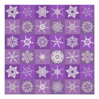 Purple Snowflakes Perfect Poster
