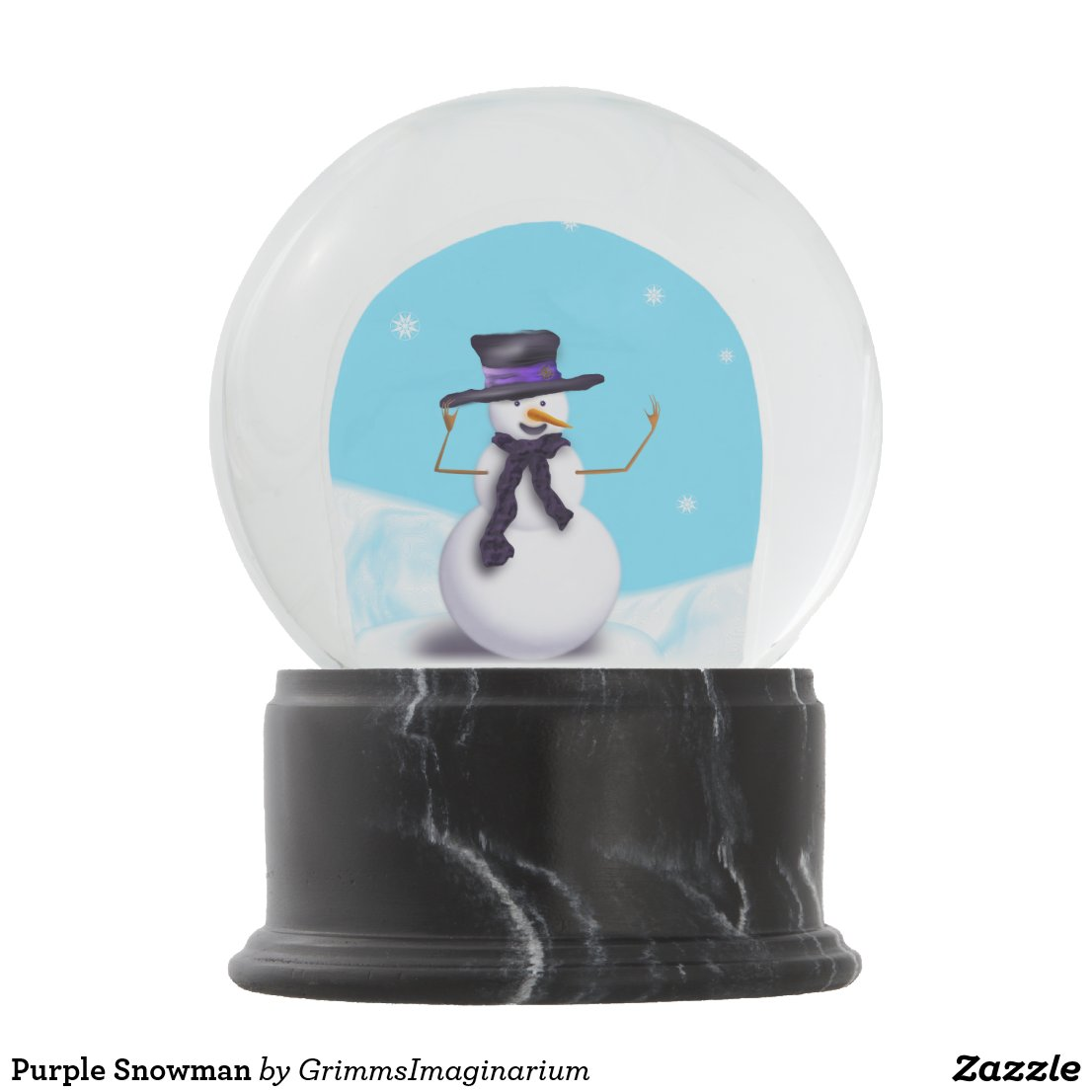 Purple Snowman Snow Globe