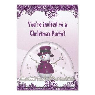 Purple Snowman & Snow Globe Christmas Party Card