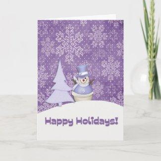 Purple Snowman Snowflakes Card card