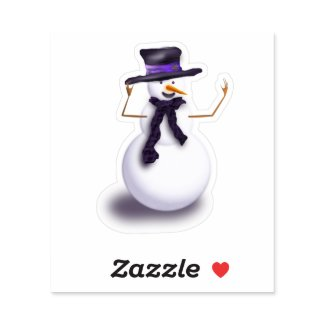 Purple Snowman Sticker