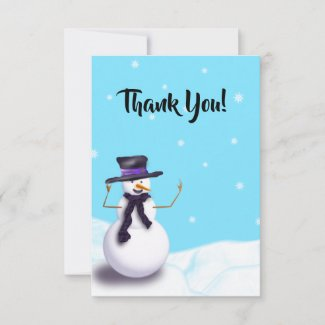 Purple Snowman Thank You Card