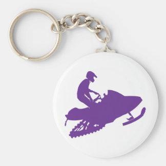 Purple-Snowmobiler Basic Round Button Keychain