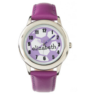 Purple Soccer Ball and Name Wrist Watches