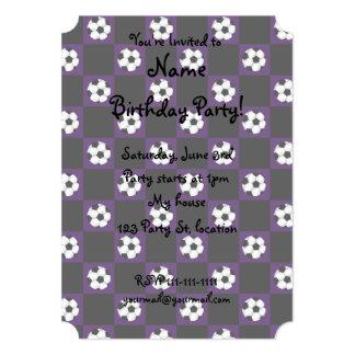 """Purple soccer ball checkers 5"""" x 7"""" invitation card"""