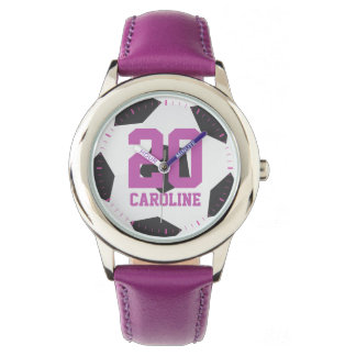Purple Soccer Ball Girl's Wrist Watch
