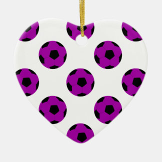 Purple Soccer Ball Pattern Double-Sided Heart Ceramic Christmas Ornament