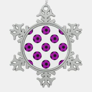 Purple Soccer Ball Pattern Snowflake Pewter Christmas Ornament