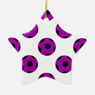 Purple Soccer Ball Pattern Double-Sided Star Ceramic Christmas Ornament