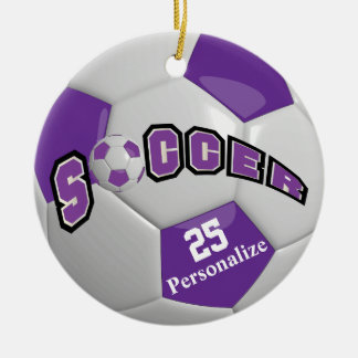 Purple Soccer Ball | Personalize Ceramic Ornament