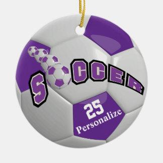Purple Soccer Ball | Personalize Ceramic Ornament