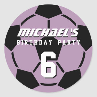 Purple Soccer Ball Sports Birthday Party Stickers