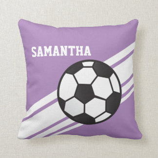 Purple Soccer Ball Stripes Throw Pillow