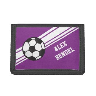 Purple Soccer Sporty Sport Stripes Girls Wallet