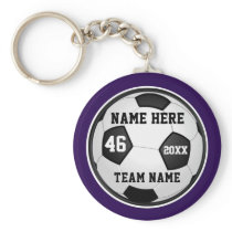 Purple Soccer Team Gifts or Your COLORS and TEXT Keychain