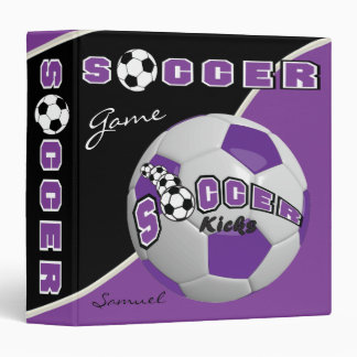 Purple Soccerball Game | Personalize Vinyl Binder