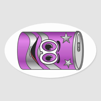 Purple Soda Can Cartoon Stickers