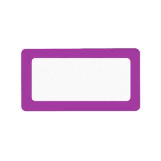 Purple solid color border blank custom address labels