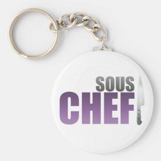 Purple Sous Chef Basic Round Button Keychain